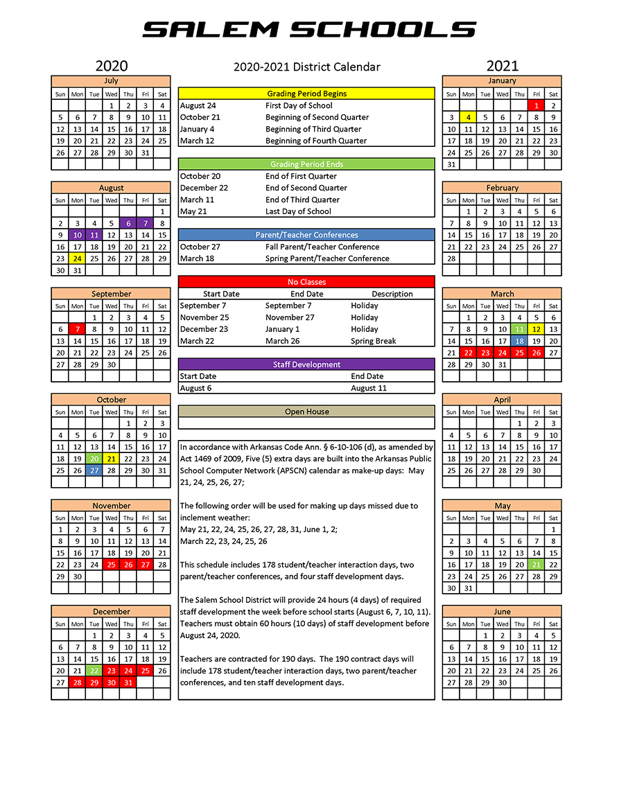 2020-2021 School Calendar - Salem School District